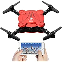 Leoie RC Quadcopter Drone with FPV Camera Live Video Foldable Aerofoils, Smart Phone and App Control UAV Predator, RTF Helicopter with 4 Channels, 6-Axis Gyro, Gravity Sensor with 2pcs Batteries Red