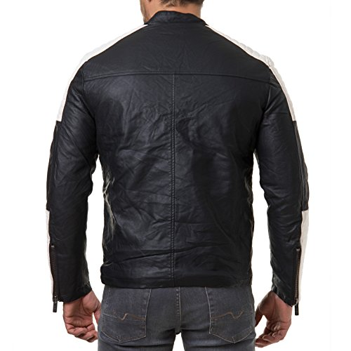 Blanco Piel Biker y Negro Chaqueta m6014 Blanco sintética Hombre De geteppt REDBRIDGE Negro qatBf7t