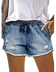 onlypuff Womens Denim Shorts Mid Waist Drawstring Pocketed Frayed Casual Jean Shorts for Summer