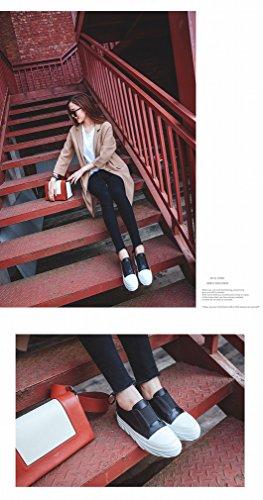 ZH Station Européenne Printemps Chaussures Occidentales Blanches Chaussures Dentelle avec un Fond Épais avec un Rond Unique Chaussures Femmes Noir RwhIrM4Dh