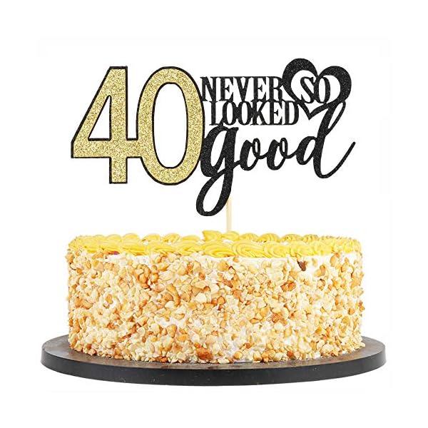 Marvelous Qiynao Black Gold 40 Never Looked So Good Cake Topper 40Th Wedding Funny Birthday Cards Online Elaedamsfinfo
