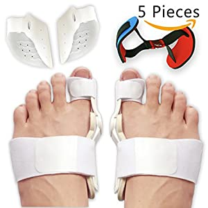 Flyen Bunion Corrector and Bunion Splint Care Kit For Bunion Relief, Hallux Valgus corrector, Big Toe Straightener, Big Toe Joint Protector Brace, Bunion Pads Toe Separators Spacers Surgery Aid Night