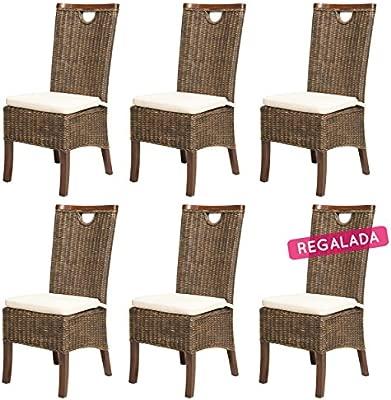 REBAJAS : -66% Lote de 6 sillas para comedor moka modernas y ...