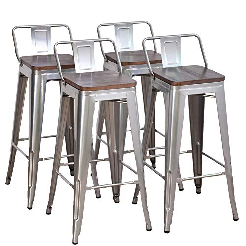 Dekea 30 Inch Bar Stools Counter Height With Wooden Top Seat Metal