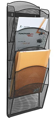 Greenco Mesh 5 Slot Wall Mounted Magazine Rack Holder, Black (Office Magazine Rack)