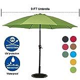 Sundale Outdoor 9 Feet Aluminum Market Umbrella Table Umbrella with Crank and Push Button Tilt for Patio, Garden, Deck, Backyard, Pool, 8 Fiberglass Ribs, 100% Polyester Canopy (Lime Green)