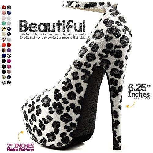 DailyShoes Womens Extreme High Fashion Ankle Strap Peep Toe Hidden Platform Sexy Stiletto High Heel Pump Shoes Pony-hair Fabric rw4sECIPEH