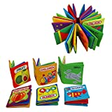 Quner Baby's First Non-Toxic Soft Cloth Book Baby Cloth Book Set Kids Early Learning Educational Toys (pack of 6)
