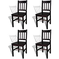 Festnight Set of 4 Wood Kitchen Dining Chairs with High Back, Brown