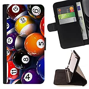 DEVIL CASE - FOR Apple Iphone 5C - Pool Billiard Balls Colorful Numbers Game Art - Style PU Leather Case Wallet Flip Stand Flap Closure Cover