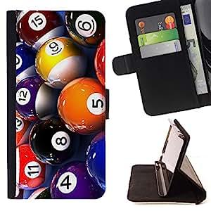 BullDog Case - FOR/LG G2 D800 / - / pool billiard balls colorful numbers game art /- Monedero de cuero de la PU Llevar cubierta de la caja con el ID Credit Card Slots Flip funda de cuer