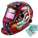 iMeshbean Solar Power Auto Darkening Welding Helmet with Wide Shade Range 4/5-9/9-13 with Grinding Feature & 2 pcs Extra Lens Covers for ARC MAG MIG MMA Stick TIG Plasma Cutting (BlackEagle)