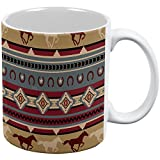 Southwestern Wild Horse Mustang Pattern All Over Coffee Mug White Standard One Size