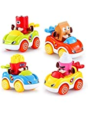 VATOS Kinder Spielzeug Autos für Jungen und Mädchen 6er Pack Kinder Fahrzeuge Bewegliche Reifen Zum anschieben für Kinder von 1,5 - 4 Jahren