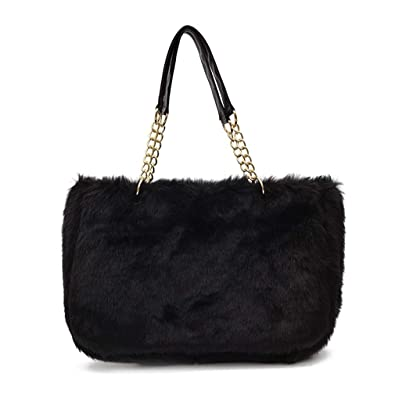 cca0bbecc645 Amazon.com  Large Faux Fur Tote Bag Winter Shoulder Bag Satchel Tote  Handbag for Women (Black)  Shoes