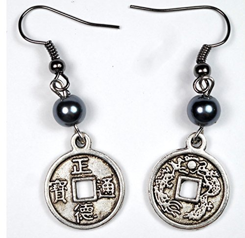 Silver Tone Double Sided Antique Chinese Coin Charm with Grey Glass Pearl Earrings, Good Luck Gift