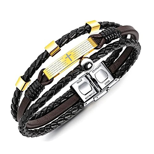 - OnairMall Unisex Jewelry Leather Bracelet Religious Multi-Layer Braided Wrist Cuff with Spanish Bible Scripture