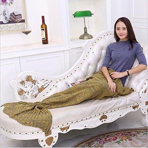 Couvertures tricot queue de poisson couvertures couvertures en molleton corail mermaid mermaid,180cm*90cm,Yellow