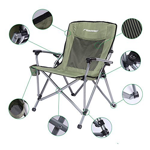 FUNDANGO Lightweight Wide Seat Portable Stable Folding Deluxe Camping Chair with Armrest, 26 × 28 × 18 / 36 inches, 4.8 kg / 10.6 lbs (Wide Folding Chair)