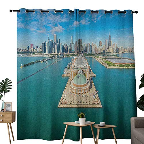 NUOMANAN Window Curtain Fabric Chicago Skyline,Aerial Panorama of Navy Pier Marine Metropolis Big City Silhouette View, Multicolor,Rod Pocket Curtain Panels for Bedroom & Living Room -