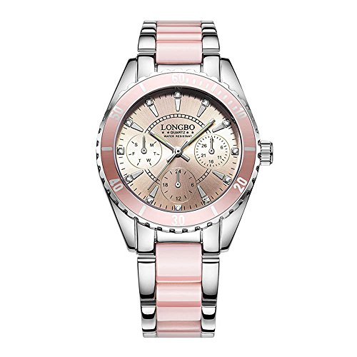 Fashion Alloy and Ceramic Ladies' Watches - Rhinestone Decorative Sub-Dials Luminous Pointers Pink Watches for Women