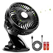 Stroller Fan,Rechargeable Battery or USB Operated Clip On Fan,360°Rotation,Adjustable Speed, Cooling Portable Fan,Mini Desk Fan for Baby,Car Seat,Gym,Travel,Office ( 2pcs 3000mAh Batteries Included)