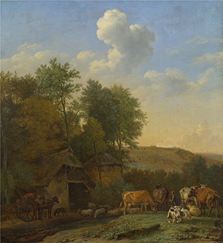 (Perfect Effect Canvas ,the High Resolution Art Decorative Prints On Canvas Of Oil Painting 'Paulus Potter A Landscape With Cows Sheep And Horses By A Barn ', 20 X 22 Inch / 51 X 55 Cm Is Best For Bedroom Decoration And Home Gallery Art And Gifts)