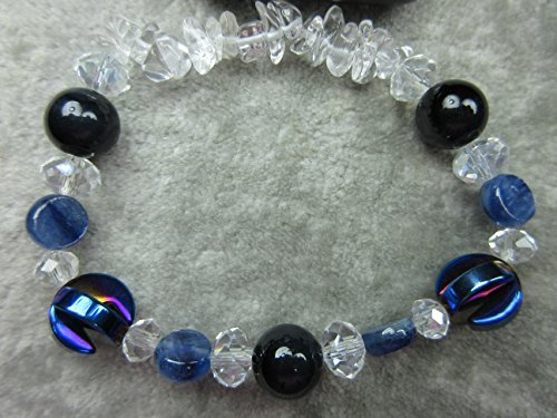 Genuine Eagles Eye, Hematite, Kyanite and Quartz Healing Bracelet Stamina Energy Communication