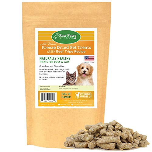 Raw Paws Pet Free-Range Freeze Dried Beef Green Tripe Cat Treats & Dog Treats, 8-oz - Made in USA - Raw Freeze Dried Dog Treats - Grass-Fed Cows - Grain & Wheat Free - Raw Tripe Treats for Dogs Dog Beef Cat Treats