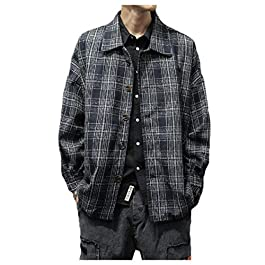 Men's Casual Plaid Coat Wool-Blend  Retro Longshirt