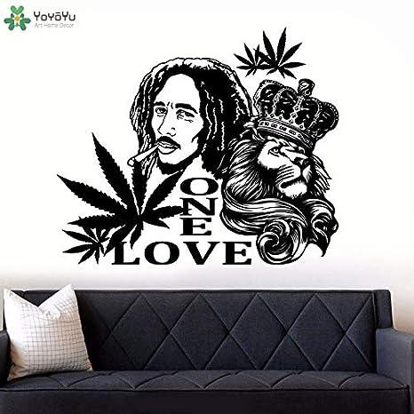 Ajcwhml Bob Marley Lion One Love Etiqueta de La Pared Tatuajes de ...