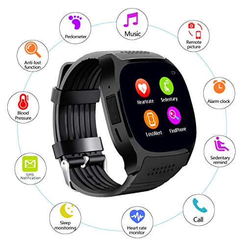 Smart Wrist Watch Bluetooth Screen Touch Wristwatch Heart Rate Monitor Blood Pressure Pedometer Sleep Monitoring for Men Women Boy Girls for Android IOS Samsung iPhone Motorola LG