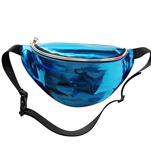 Mounchain Waist Packs by Womens Shiny Laser Holographic Waist Fanny Packs with Adjustable Waistband-Smartphone Money Coins Keys Passport Holder Blue