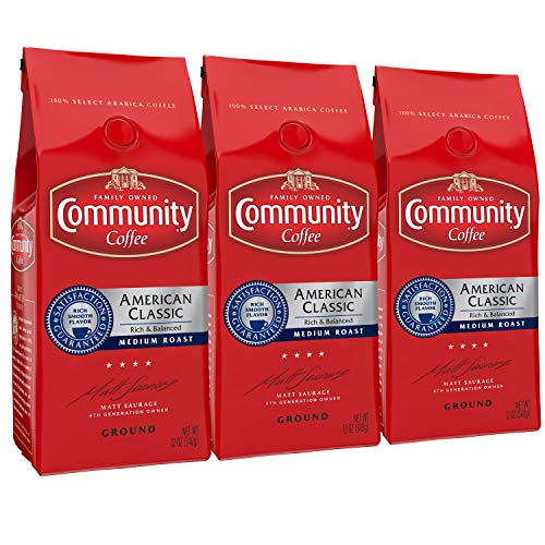 Community Coffee American Classic Medium Roast Premium Ground Coffee, 3 Count