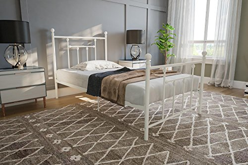 DHP Manila Metal Bed with Victorian Style Headboard and Footboard, Includes Metal Slats, Twin Size, White Loft Style Furniture