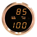 VEI Systems Dual-Display gauge: 90 PSI vacuum-boost and 100 PSI oil pressure (orange/silver)