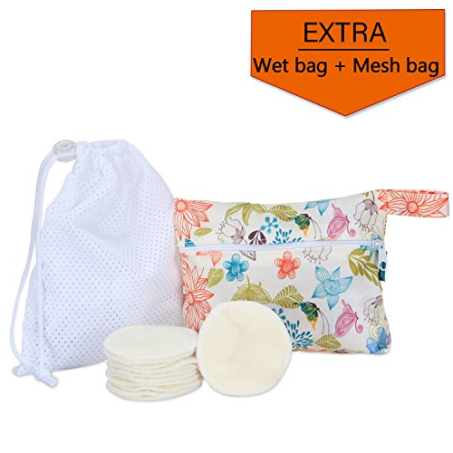 12Pcs Reusable Makeup Remover Pads with 2 EXTRA Bags(Laundry and Storage Bag), Bamboo Organic Cotton Rounds for Face, Super Soft and Adsorption Wash Cloth Pads by Teamoy