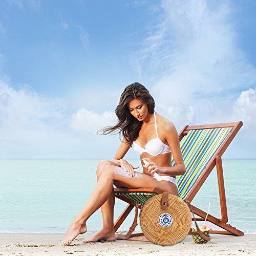 mano de el estilo para tejido retro bandolera de mimbre hogar redondo a playa mujer Bolso para bohemio xqnU8PZwtx