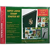 Super Large Stamp Collecting Starter Kit with stockbook, quality magnifier & 250 stamps.