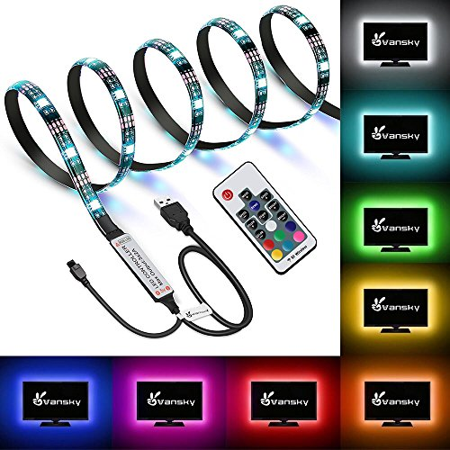 Vansky LED Strip Lights, TV backlight Kit Bias Lighting for HDTV USB Powered LED Light Strip with RF Remote for 30-55 inch TV, Desktop PC - 16 Multi Colors