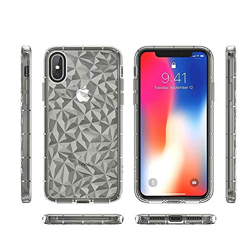 (Fusicase for iPhone Xs Max Shockproof Case Soft TPU Rubber Bumper Protective Gel Cover with Transparent Chic Design Geometric Diamond Pattern Textured Back Clear Case for iPhone Xs Max Gray)