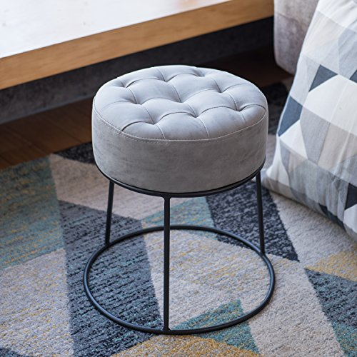 Art-leon Dwarf Round Stool Stackable Ottoman Button Tufted Seat Pad Footrest Small Seat Hi-end Faux Leather Light ()