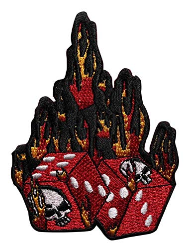 Embroidery Patch Flaming Dice 2 3/4