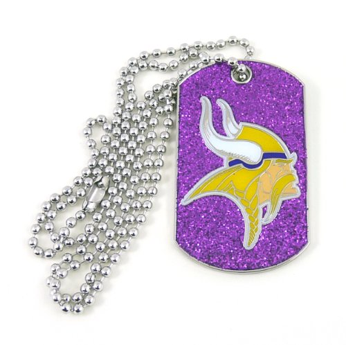 aminco NFL Minnesota Vikings Glitter Dog Tag