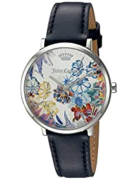 Juicy Couture Women's 'La Ultra Slim' Quartz Gold-Tone and Leather Automatic Watch, Color: Blue (Model: 1901455)