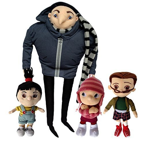 One Set of 4 PCS Despicable Me Character Plush Toy Gru Orphan Girls Margo Edith Agnes Family Stuffed Animal Soft Figure Doll with a Free Badge as Gift]()