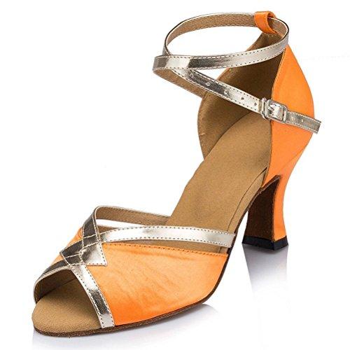 Misu Womens Sandali Peep Toe Latino Salsa Tango Pratica Scarpe Da Ballo Sala Da Ballo Con 3,1 Tacco Arancione
