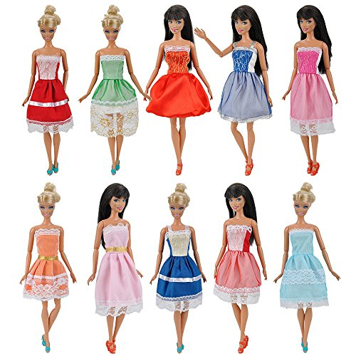 E-TING 5 Items=5 Set Handmade Mini Dresses Clothes for Barbie Doll XMAS Gift