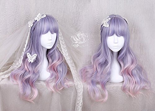Women Girls Japan Harajuku Sweet Lolita Natural Looking Daily Wear Cute Fluffy Purple Blue Pink Ombre Healthy Long Curly Kanekalon Full Wig (Cute But Easy To Make Halloween Costumes)
