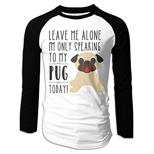 Puppylol Men's I'm Only Speaking To My Pug Today Long Sleeve Raglan Baseball Jersey S